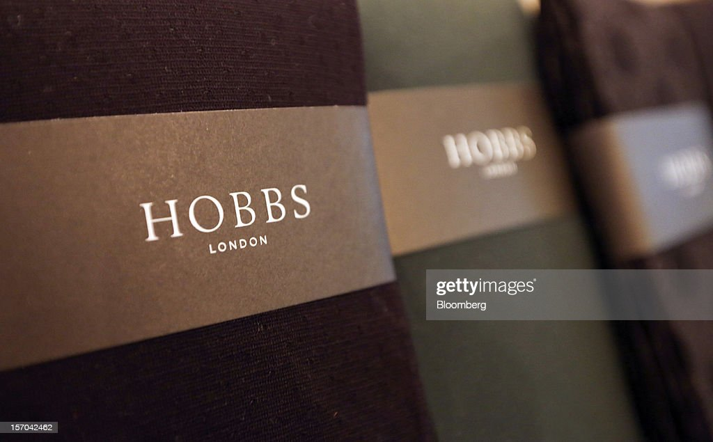 The 'Hobbs' logo sits on the packaging of ladies' tights displayed inside a NW3 store, a brand of Hobbs and former pop-up store, in London, U.K., on Tuesday, Nov. 27, 2012. Fashion chain Hobbs is among those that have opened pop-up stores for the first time this year, while CD and DVD retailer HMV Group Plc is adding more than usual for the holiday in an effort to win business. Photographer: Chris Ratcliffe/Bloomberg via Getty Images