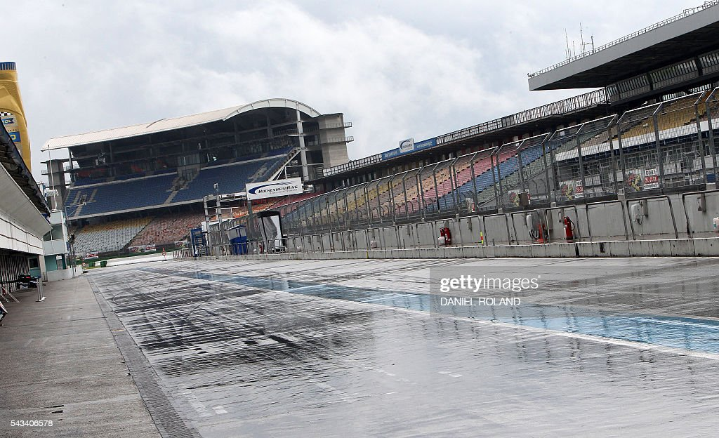 The Hockenheim race track is pictured in Hockenheim, Germany, on June 28, 2016. The German Grand Prix will take place on July 31, 2016 at Hockenheim race track. / AFP / DANIEL