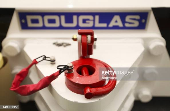 The holding pin of an aviation towing tractor is seen at the Douglas Equipment plant owned by CurtissWright Corp in Cheltenham UK on Tuesday April 17...