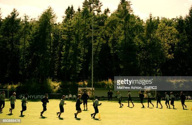 The Holland squad go for a run in their training camp in Hoenderloo