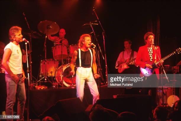 The Hollies perform on stage in New York LR Graham Nash Bobby Elliott Allan Clarke unknown Tony Hicks