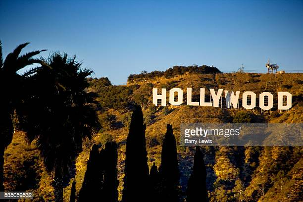 The Hollywood Sign is a famous landmark in the Hollywood area of Los Angeles California spelling out the name of the area in 152 m high white letters...