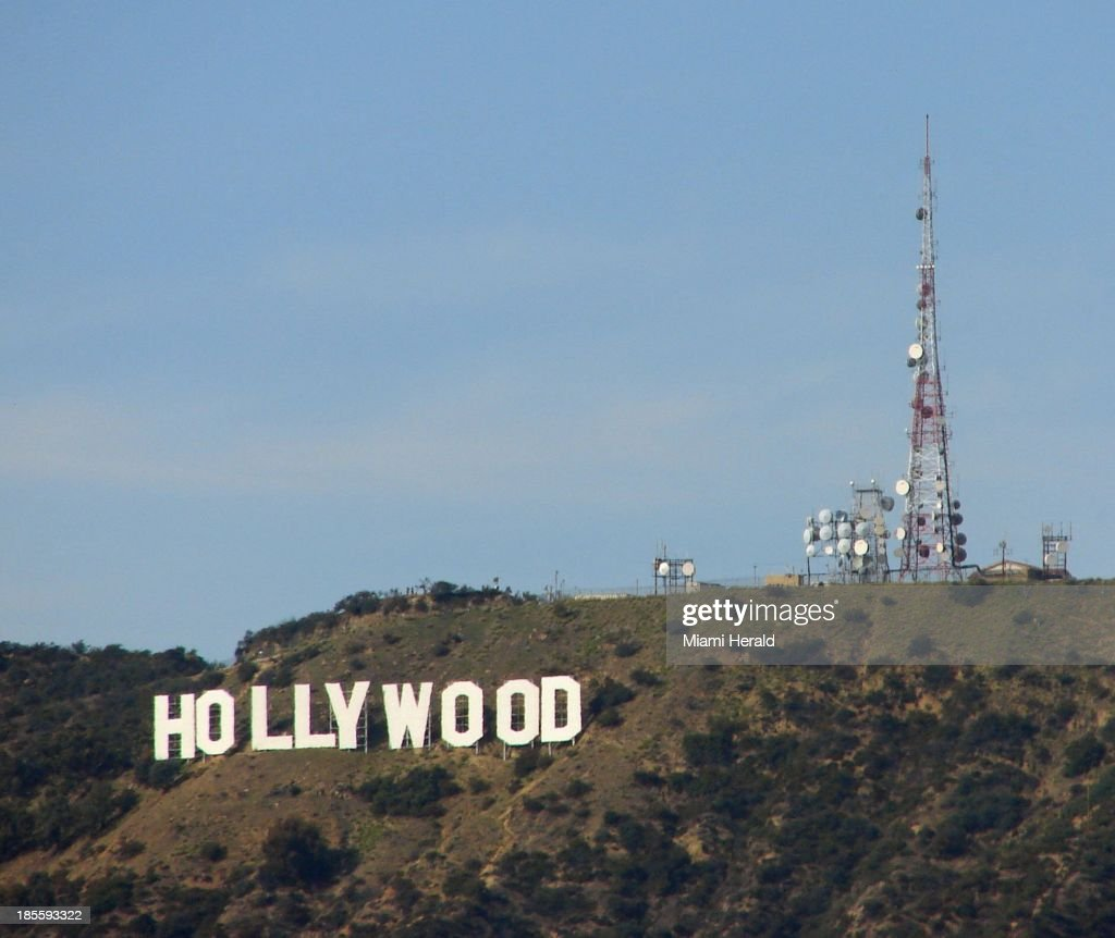 The Hollywood sign on Mount Lee looks south to Hollywood in Los Angeles California