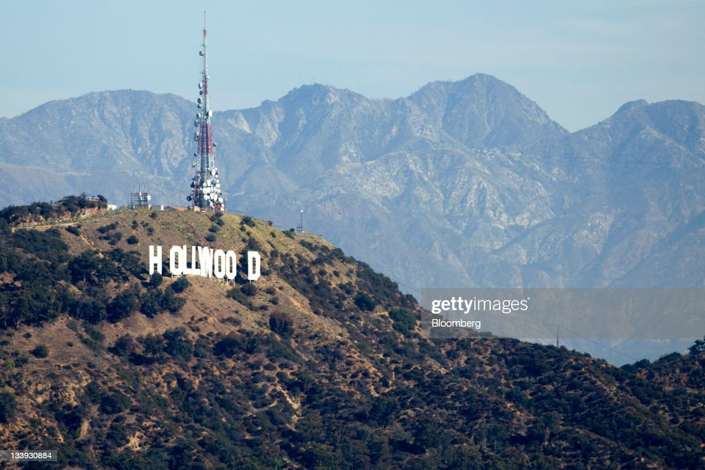 The Hollywood sign stands above Los Angeles, California, U.S., on on Thursday, Nov. 17, 2011. Los Angeles faces an almost $200 million deficit for the 2013 fiscal year and projected pension and salary increases for city employees totaling $479 million through 2015, analysts said this year. Photographer: Andrew Harrer/Bloomberg via Getty Images