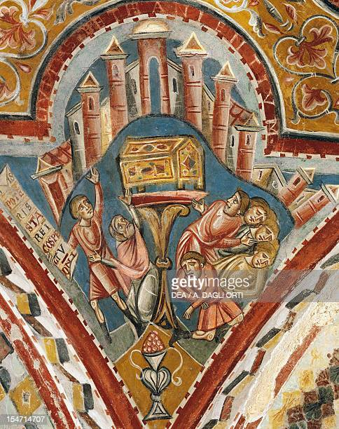 The Holy Ark spreading terror and death among the infidels to its passage early 13th century fresco Crypt of St Mary Cathedral Anagni Lazio Italy...