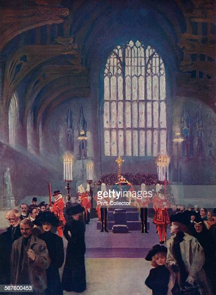 King Edward's lying in state Westminster Hall May 1619 1910 From Edward VII His Life and Times Volume II edited by Sir Richard Holmes KCVO [The...