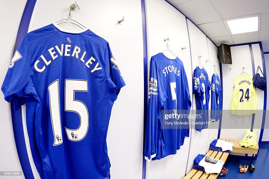 The home dressing room at Goodison Park before the Barclays Premier League match between Everton and A.F.C. Bournemouth at Goodison Park on April 30, 2016 in Liverpool, England.