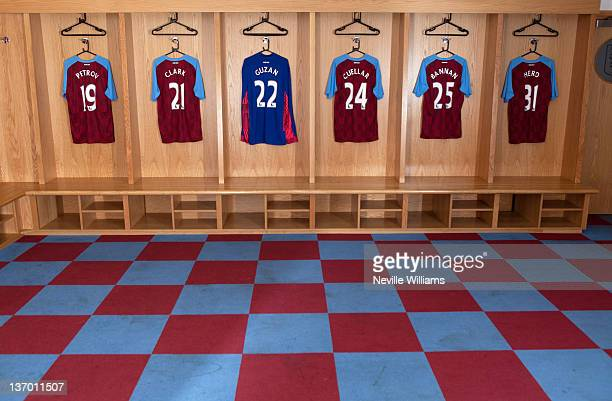 The home dressing room of Aston Villa before the Barclays Premier League match between Aston Villa and Everton at Villa Park on January 14 2012 in...