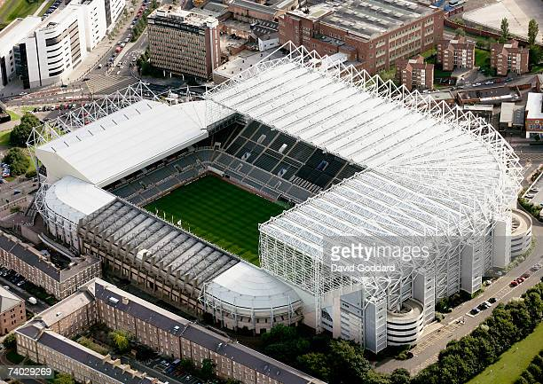 The home of Newcastle United Football Club St James Park in this aerial photo taken on 9th September 2006