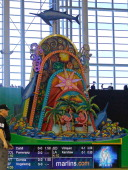 The home run sculpture in the outfield goes off after Omar Infante of the Miami Marlins hit the first home run in Marlins Park during a game against...