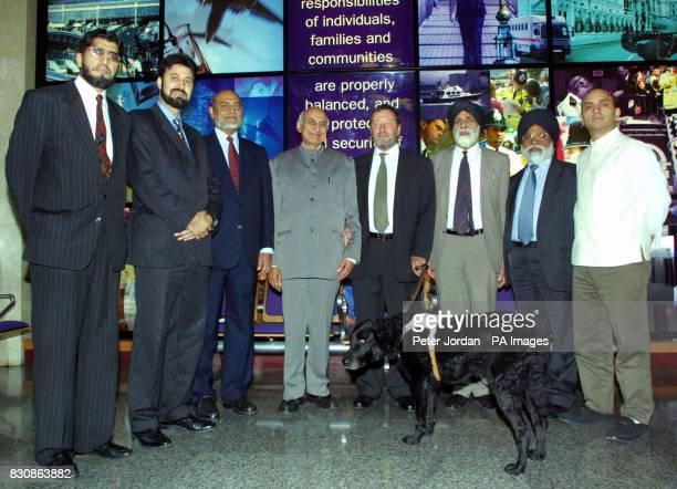 The Home Secratary David Blunkett at the Home Office London with Iqbaz Sacranie Cllr Afzal Khan Tanzeem Wasti Parkash Sharma David Blunket Indarjit...