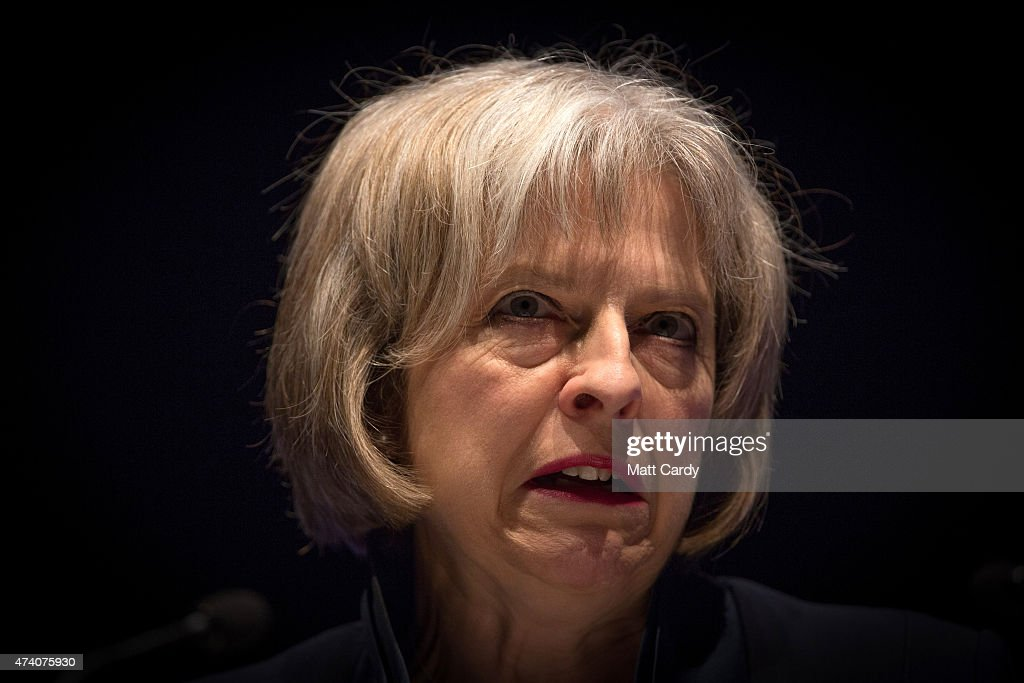 The Home Secretary, <a gi-track='captionPersonalityLinkClicked' href=/galleries/search?phrase=Theresa+May&family=editorial&specificpeople=832274 ng-click='$event.stopPropagation()'>Theresa May</a> addresses officers at the Police Federation annual conference on May 20, 2015 in Bournemouth, England. In her first speech since being reappointed Home Secretary, Mrs May said she wanted to stop the 'tick box culture' of policing and warned officers to 'stop crying wolf' as she spoke at the Bournemouth International Conference centre.