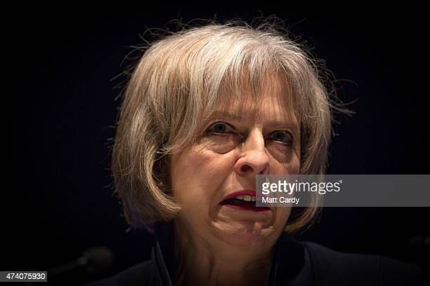 The Home Secretary Theresa May addresses officers at the Police Federation annual conference on May 20 2015 in Bournemouth England In her first...