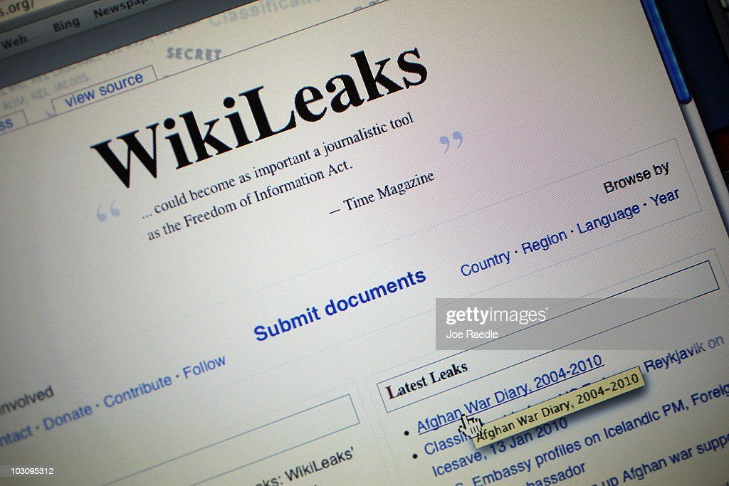 The homepage of the WikiLeaks.org website is seen on a computer after leaked classified military documents were posted to it July 26, 2010 in Miami, Florida. WikiLeaks, an organization based in Sweden which publishes anonymous submissions of sensitive documents from governments and other organizations, released some 91,000 classified documents that span the past six years of U.S. combat operations in the war Afghanistan.