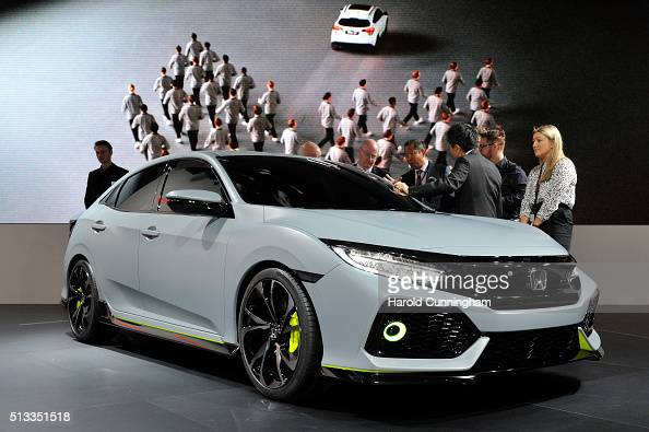The Honda Civic hatchback concept is shown during the Geneva Motor Show 2016 on March 2 2016 in Geneva Switzerland