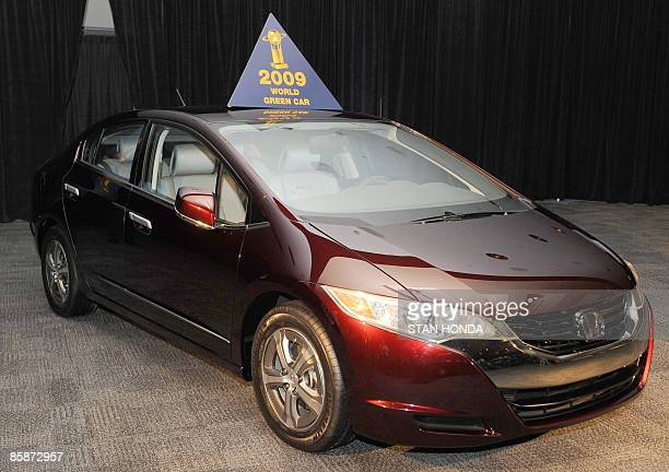 The Honda FCX named the 2009 World Green Car of the Year at the New York International Auto Show April 9 2009 in New York AFP PHOTO/Stan Honda
