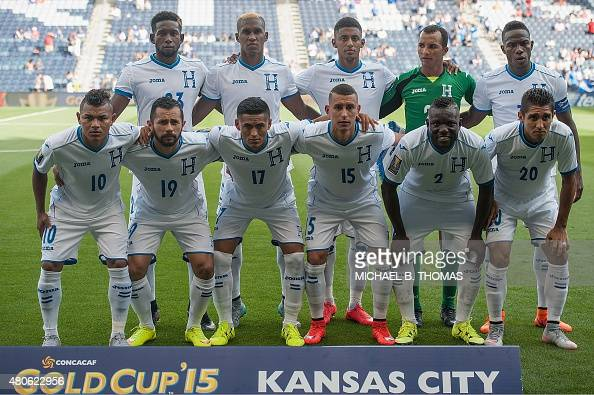 The Honduras National Soccer Team poses for a team photo prior to the CONCACAF Gold Cup match between Haiti and Honduras at Sporting Park on July 13...
