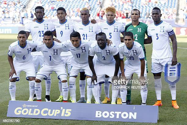 The Honduras team pose for a group photo before the CONCACAF Gold Cup match between Honduras and Panama in Foxborough Massachusetts on July 10 2015...