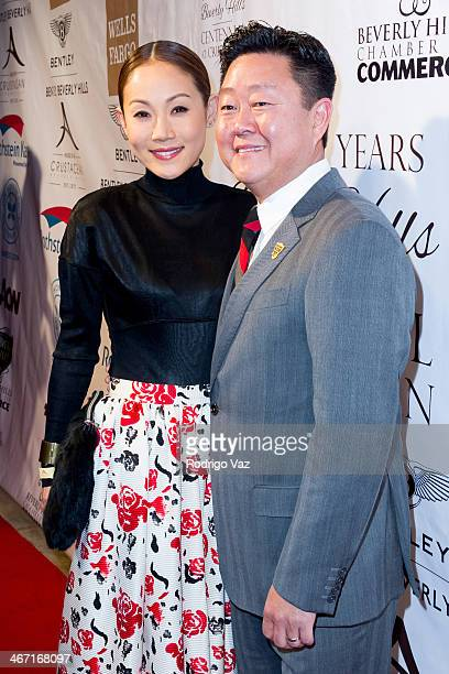 The Honest Co CEO Brian Lee and his wife Mira Lee attend the Beverly Hills Chamber of Commerce hosting EXPERIENCE East Meets West event at Crustacean...