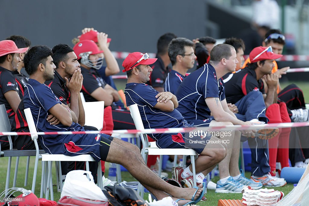 The Hong Kong bench during the first innings of the Papua New Guinea v Hong Kong Quarter Final match 64 at the ICC World Twenty20 Qualifiers at the Zayed Cricket Stadium on November 28, 2013 in Abu Dhabi, United Arab Emirates.