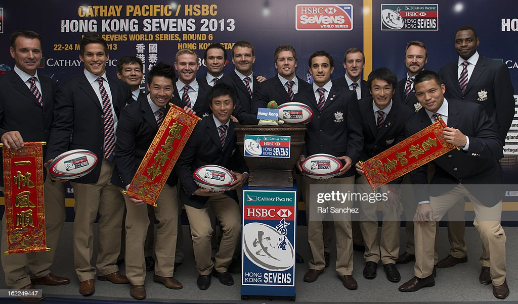 The Hong Kong rugby squad poses during the Cathay Pacific/HSBC Hong Kong Sevens 2013 Official Draw held at Hysan Place, on February 21, 2013 in Hong Kong.