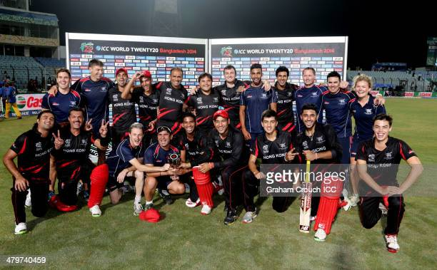 The Hong Kong team following their victory over Bangladesh in the Bangladesh v Hong Kong match at the ICC World Twenty20 Bangladesh 2014 played at...