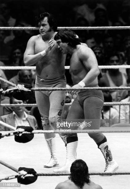 The Honky Tonk Man walks Ricky 'The Dragon' Steamboat to the ropes during their WWF match on August 22 1987 at the Madison Square Garden in New York...
