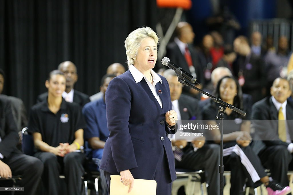 The Honorable, Annise Parker, Mayor, City of Houston greets the crowd during the Opening Ceremony/NBA All-Star FIT Youth Celebration presented by Exxon Mobile on Center Court during the 2013 NBA Jam Session Presented by Adidas on February 14, 2013 at the George R. Brown Convention Center in Houston, Texas.