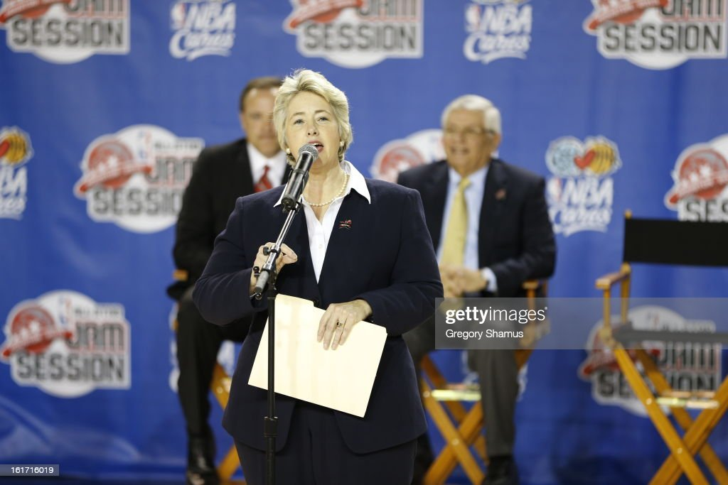 The Honorable, Annise Parker, Mayor, City of Houston greets the crowd during the Opening Ceremony/NBA All-Star FIT Youth Celebration presented by Exxon Mobile on Center Court during the 2013 NBA Jam Session during the 2013 NBA Jam Session on February 14, 2013 at the George R. Brown Convention Center in Houston, Texas.