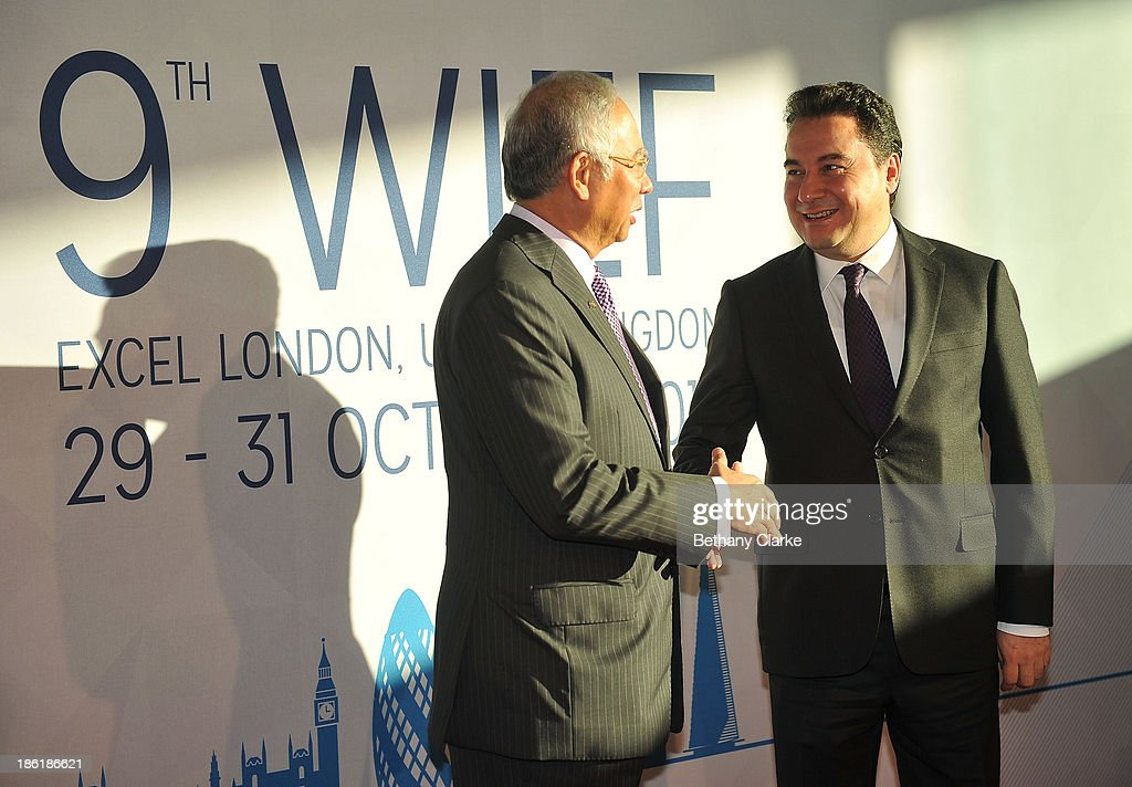 The Honourable Dato' Sri Mohd Najib Tun Abdul Razak, Prime Minister of Malaysia & Patron, WIEF Foundation greets H.E. <a gi-track='captionPersonalityLinkClicked' href=/galleries/search?phrase=Ali+Babacan&family=editorial&specificpeople=612964 ng-click='$event.stopPropagation()'>Ali Babacan</a>, Deputy Prime Minister of the Republic of Turkey at the 9th World Islamic Economic Forum at ExCel on October 29, 2013 in London, England.