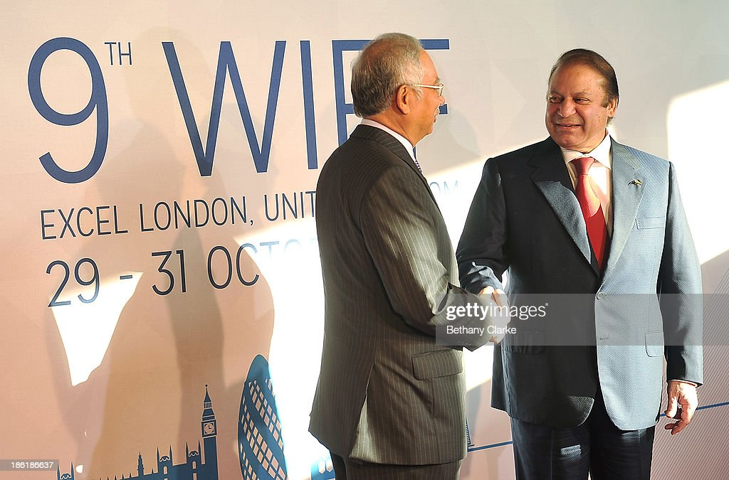 The Honourable Dato' Sri Mohd Najib Tun Abdul Razak, Prime Minister of Malaysia & Patron, WIEF Foundation greets H.E. Muhammad <a gi-track='captionPersonalityLinkClicked' href=/galleries/search?phrase=Nawaz+Sharif&family=editorial&specificpeople=217726 ng-click='$event.stopPropagation()'>Nawaz Sharif</a>, Prime Minister of the Islamic Republic of Pakistan at the 9th World Islamic Economic Forum at ExCel on October 29, 2013 in London, England.