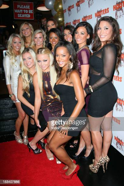 The Hooters 2013 Calendar girls arrive at the 'Hooters Calendar Girls Reveal The 2013 Hooters Calendar' event at Hooters on October 4 2012 in...