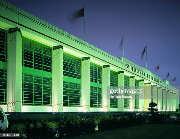 The Hoover Building at night Western Avenue Ealing London 1995 The facade of this 'bypass factory' located on the busy Western Avenue approach to...