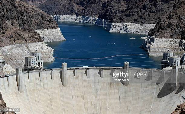 The Hoover Dam is seen from the Mike O'CallaghanPat Tillman Memorial Bridge part of the Hoover Dam Bypass Project which is under construction August...