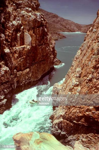 The Horizontal Waterfall with powerboat in the white water King Sound Kimberley region Western Australia