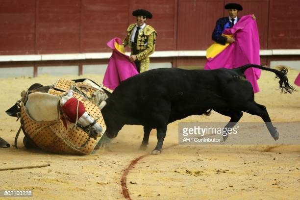 The horse of a picador is hit by a bull during a bullfight at the 'Coliseum Burgos' bullring in Burgos on June 27 2017 / AFP PHOTO / CESAR MANSO