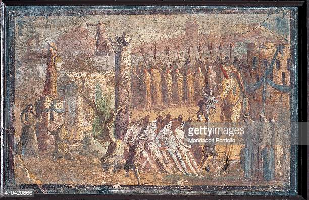 'The Horse of Troy by unknown artist 4579 1st Century AD ripped fresco 40 x 62 cm Italy Campania Naples National Archaeological Museum Room LXXIII...