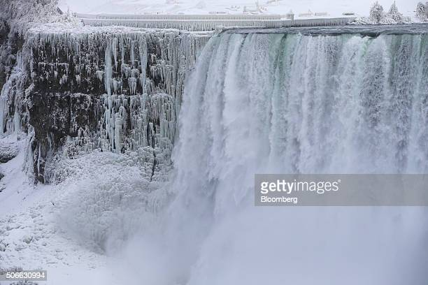 The Horseshoe Falls are seen standing in Niagara Falls Ontario Canada on Jan 23 2016 A 34 percent plunge in the Canadian dollar since 2011 is...