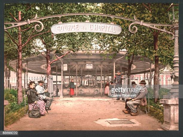 The hospital spring in the French spa town of Vichy circa 1900