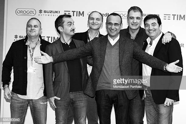The host of the the 66th Sanremo Music Festival Carlo Conti together with the Gialappa's Band the host Nicola Savino and the comedian Max Giusti...