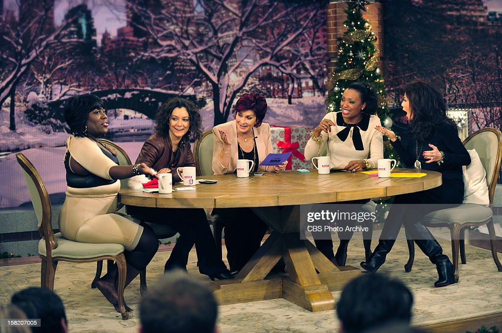 The hosts of THE TALK Sheryl Underwood, from left, Sara Gilbert, Sharon Osbourne, Aisha Tyler and Julie Chen as the show broadcasts from New York City, Monday, December 10, 2012 on the CBS Television Network.
