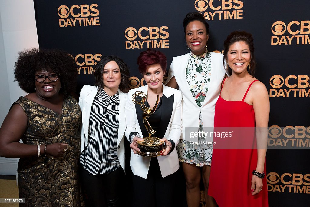The hosts of the 'The Talk Show' arrive with their Emmy at the CBS Daytime Emmy After Party at the Alexandria Ballrooms on May 1, 2016 in Los Angeles, California.