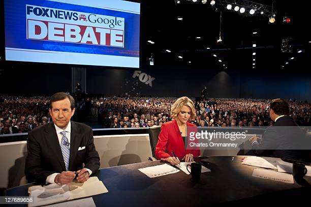 The hosts prepare for the Fox News/Google GOP Debate at the Orange County Convention Center on September 22 2011 in Orlando Florida The debate...