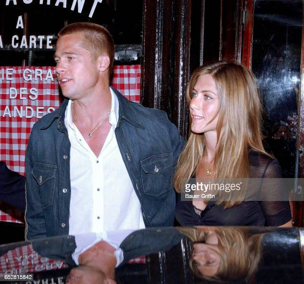 The hot again couple dines at L'Ami Louis restaurant in the romantic city of Paris Both Brad Pitt Jennifer Aniston seem in better spirits dogging the...