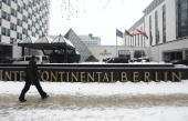 The Hotel Intercontinental site of the Super Return International 2010 conference stands in Berlin Germany on Wednesday Feb 10 2010 The private...