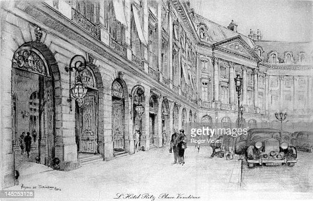 The Hotel Ritz on the Place Vendome Paris circa 1950 Drawing by Bryan de Grineau