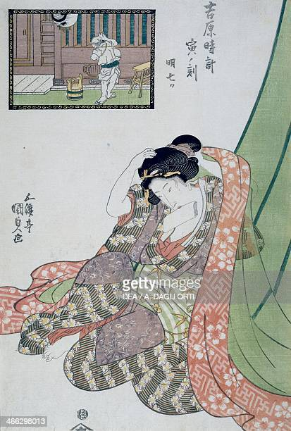 The hour of the dragon the fifth the seventh hour of the morning ca 1818 ukiyoe art print by Utagawa Kunisada from The twelve hours in Yoshiwara...