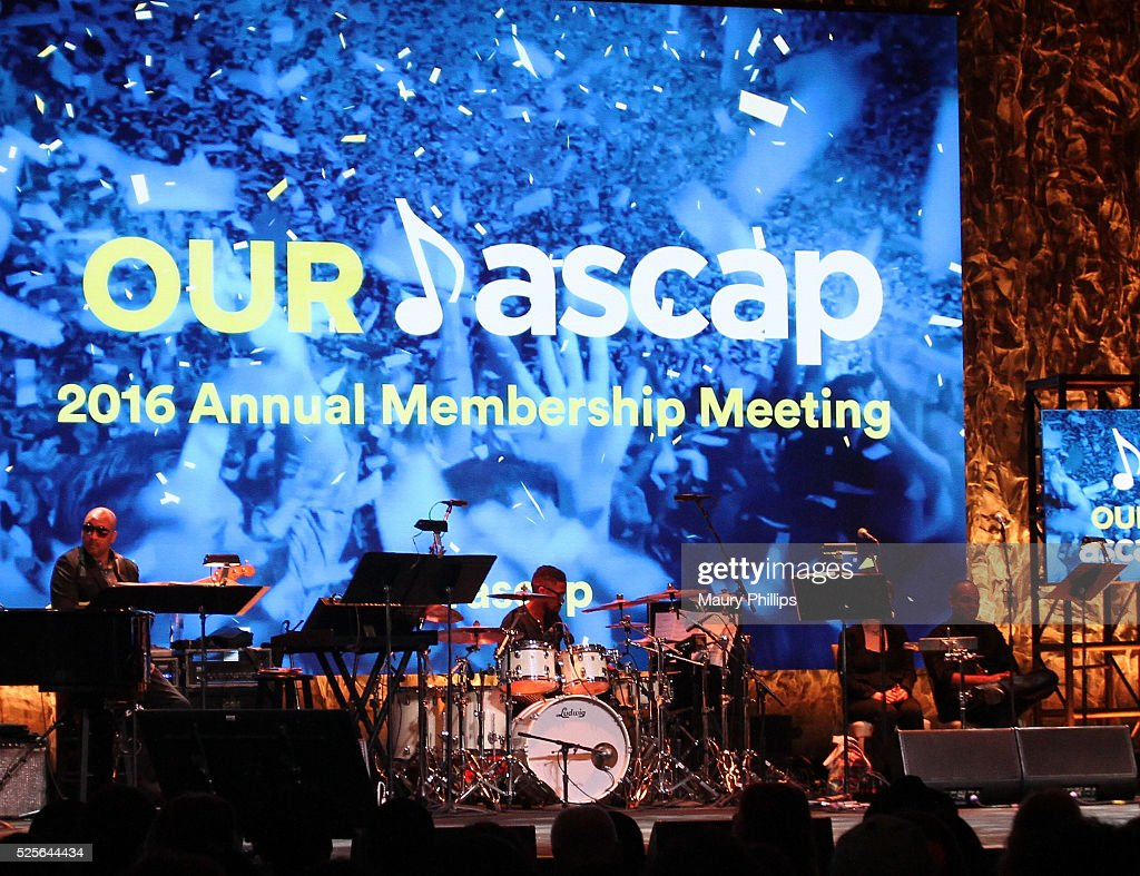 The house band plays during the ASCAP Annual Membership Meeting and ASCAP EXPO Kickoff, part of the 2016 ASCAP 'I Create Music' EXPO on April 28, 2016 in Los Angeles, California.