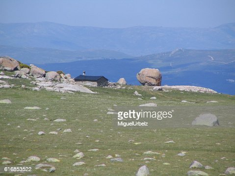 The house in the mountain : Stock Photo