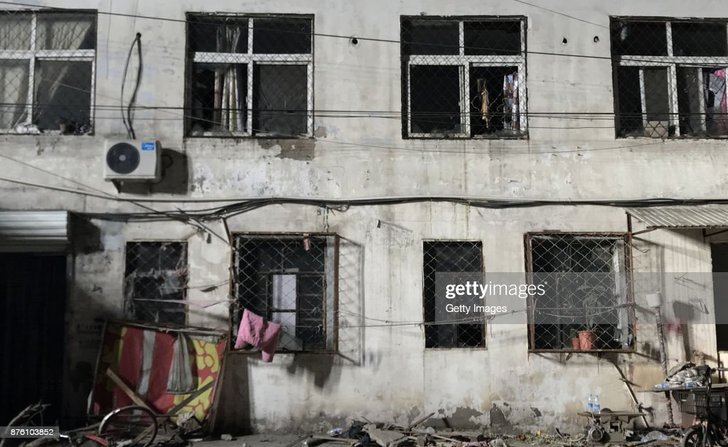 The house is seen after a fire at Daxing District on November 19, 2017 in Beijing, China. Nineteen people were killed and eight others were injured in a house fire at Daxing District on Saturday night in Beijing.